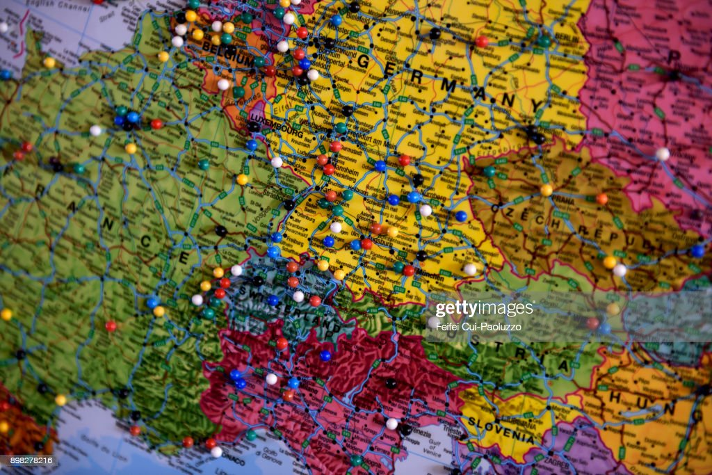 Texas Vs Europe Map.An Europe Map At Shamrock Texas Usa Stock Photo Getty Images