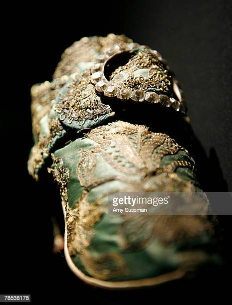 An European shoe 175060 is displayed at the Blogmode addressing fashion exhibit at the Metropolitan Museum of Art's Costume Institute on December 17...