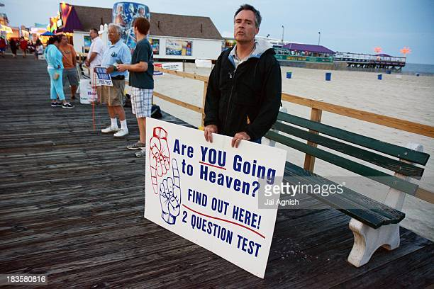 An evangelist on the boardwalk in Point Pleasant, New Jersey at the Jersey Shore Aug. 8, 2013.