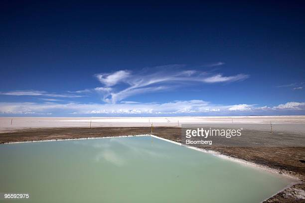 An evaporation pool designed for isolating lithium sits at the Uyuni Salt Flat in Uyuni Bolivia on Nov 18 2009 The salt flat is the world's largest...