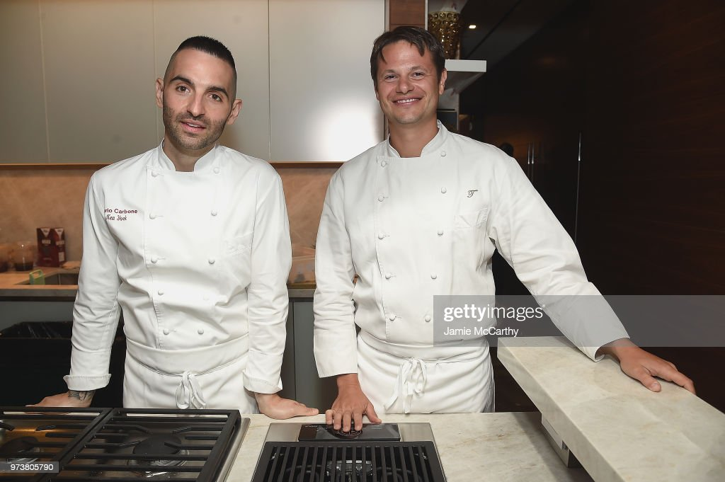 An Evening At One West End With chefs Mario Carbone And Rich Torrisi (L) on June 13, 2018 in New York City.