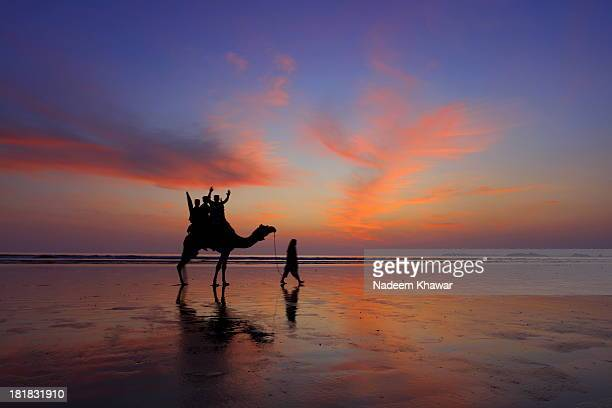 An evening at the Clifton beach of Karachi . Camel riders enjoying the safari.