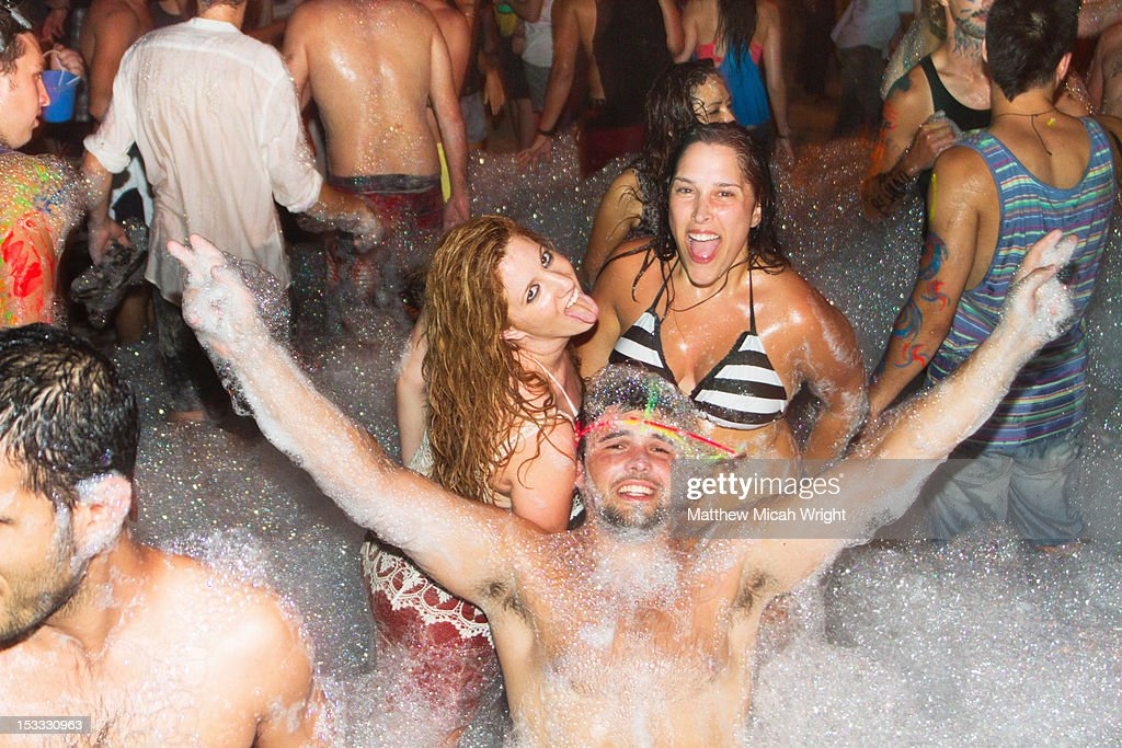 An evening dance party on the beach. : Stock Photo