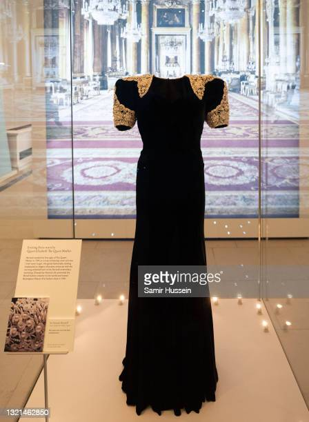 """An evening dress worn by Queen Elizabeth, The Queen Mother on display during the """"Royal Style In The Making"""" exhibition photocall at Kensington..."""