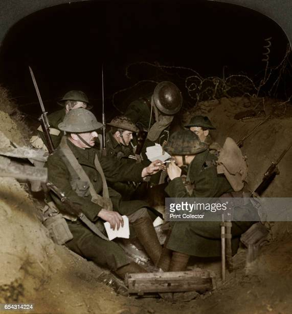 An evening in the reserve trenches at Beaumont Hamel France World War I 19141918 Stereoscopic card detail Artist Realistic Travels Publishers