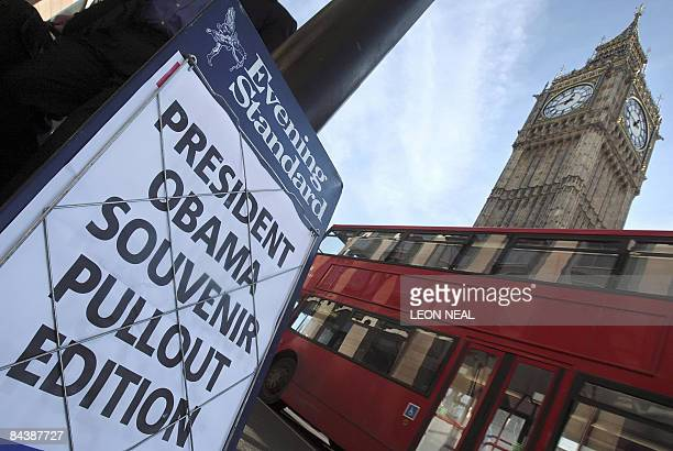 An Evening Standard newspaper billboard is pictured in central London, on January 21, 2009. Russian tycoon and former KGB agent Alexander Lebedev...