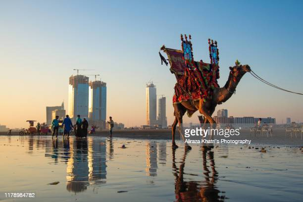 an evening view, karachi beach - pakistan stock pictures, royalty-free photos & images