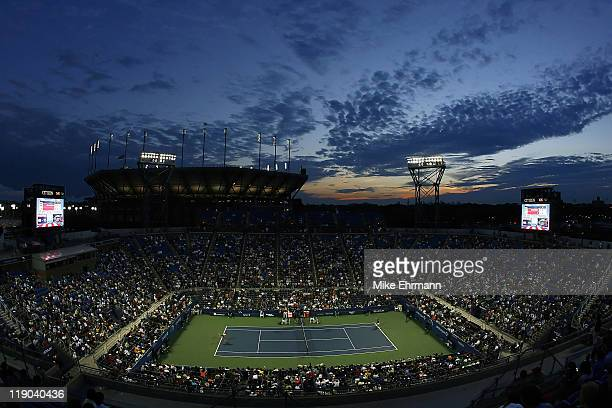 An evening view of Louis Armstrong Stadium at the USTA National Tennis Center in Flushing Meadows, New York on September 4, 2006.