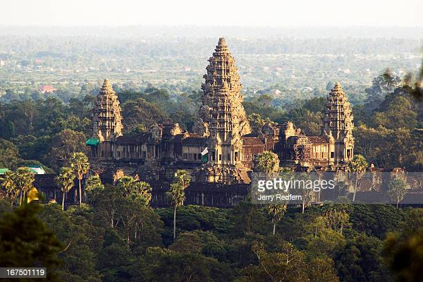 An evening view of the main temple of Angkor Wat as seen from Phnom Bakheng a small nearby hill