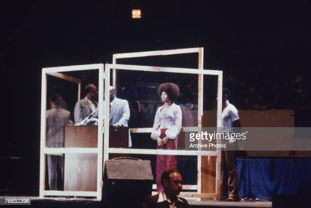 An evening with American activist and philosophy professor Angela Davis at Madison Square Garden New York 29th June 1972 Davis had recently been...
