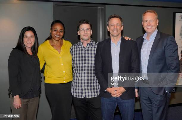 MEYERS 'An Evening with Seth Meyers' Pictured Seth Meyers moderator Andy Samberg at the Writer's Guild Theater Beverly Hills Ca on June 6 2018