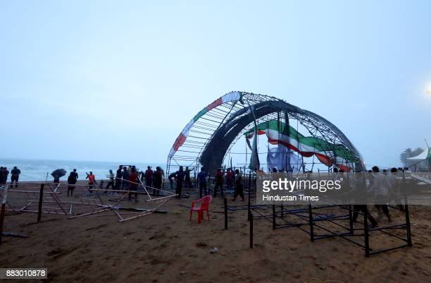 An event venue damaged by heavy rains and winds during the Cyclone Ockhi on November 30 2017 at Thiruvananthapuram India Heavy rains and gushing...