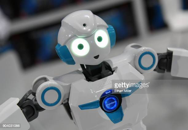 An Everest 4 humanoid series educational robot by Abilix 'dances' during CES 2018 at the Las Vegas Convention Center on January 11 2018 in Las Vegas...