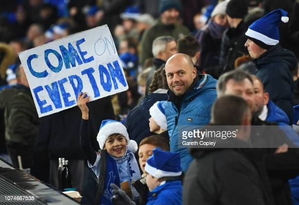 An Everton fan shows his support prior to the Premier League match between Everton FC and Tottenham Hotspur at Goodison Park on December 23 2018 in...