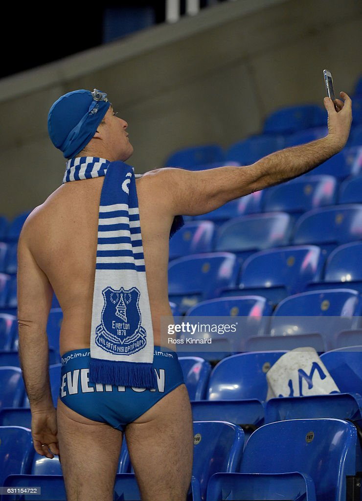 An Everton fan takes a 'selfie' during the Emirates FA Cup third round match between Everton and Leicester City at Goodison Park on January 7, 2017 in Liverpool, England.