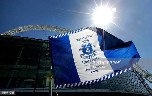 An Everton flag flies in front of the backdrop of Wembley Stadium arch prior to the FA Cup sponsored by EON Final match between Chelsea and Everton...