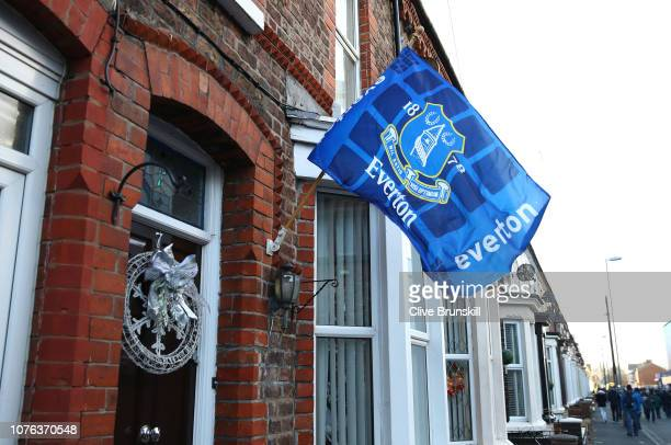 An Everton flag hangs outside of a house ahead of the Premier League match between Everton FC and Leicester City at Goodison Park on January 1, 2019...