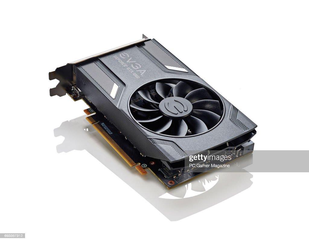 An EVGA GeForce GTX 1060 3GB graphics card, taken on