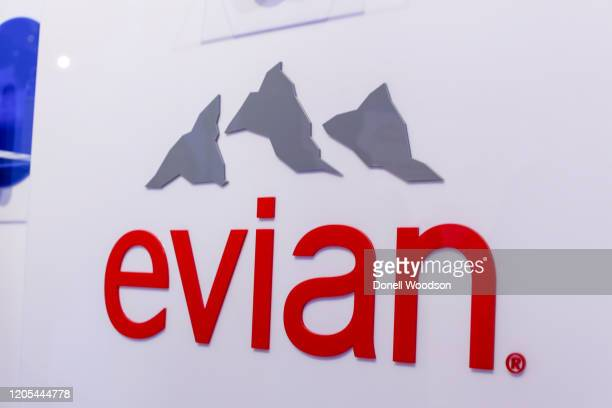 An Evian brand logo is seen at the Evian Virgil Abloh Collaboration party at Milk Studios on February 10 2020 in New York City