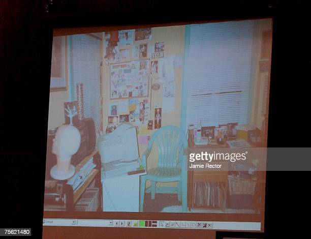 An evidence photo of Lana Clarkson's home is displayed during Music producer Phil Spector's murder trial at Los Angeles Superior Court July 24, 2007...