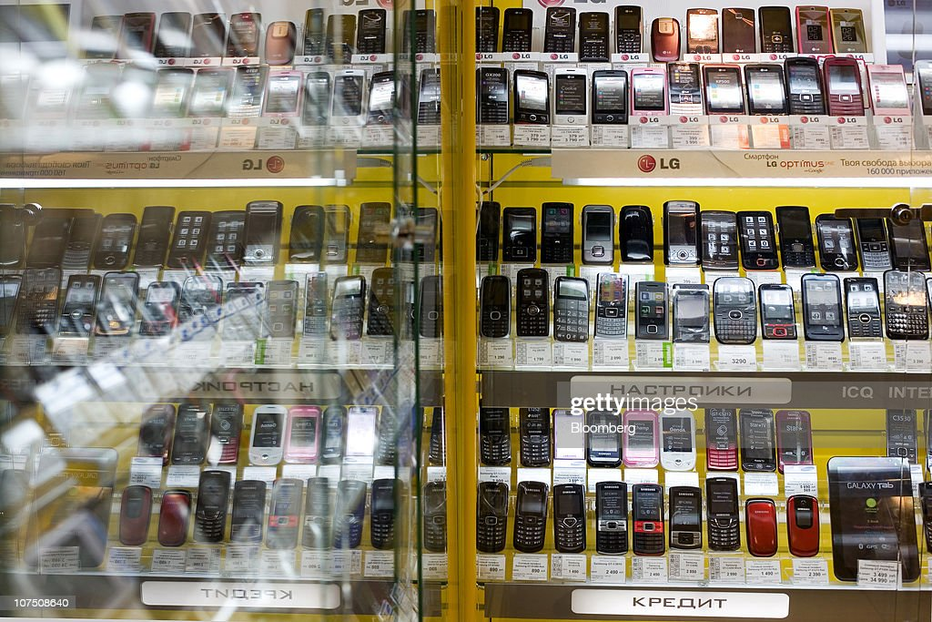 an evroset retail store displays mobile handsets for sale in moscow