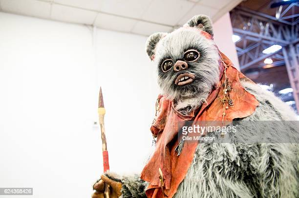 An Ewok from Star Wars during day 1 of the November Birmingham MCM Comic Con at the National Exhibition Centre in Birmingham UK on November 19 2016...