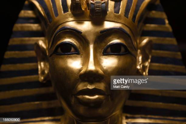 An exact recreation of the Gold Mask of Tutankhamun is seen on October 31 2012 in Dorchester Dorset The Tutankhamun Exhibition which was established...