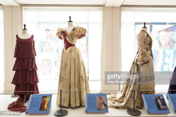 An exact replica of dresses worn by former First Ladies Grace Anna Goodhue Coolidge Frances Folsom Cleveland and Lucy Ware Webb Hayes on display at...