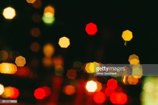An example of bokeh outoffocus points of light 1990 The polygonal effect is produced by the aparture diaphragm being slightly closed