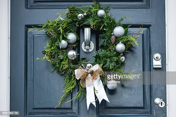 An example of Christmas Wreath placed on a door in Ranelagh, Dublin South area. On Monday, 19 December 2016, in Ranelagh, Dublin, Ireland.