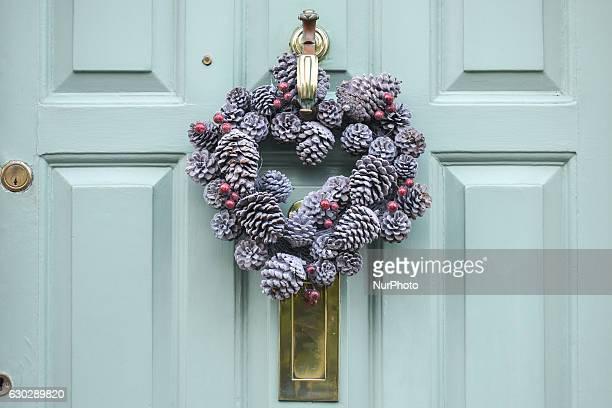 An example of Christmas Wreath placed on a door in Ranelagh Dublin South area On Monday 19 December 2016 in Ranelagh Dublin Ireland