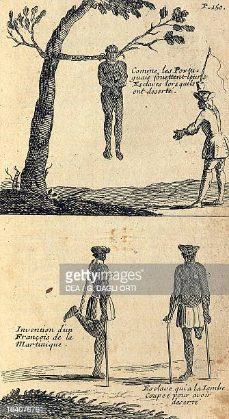 An example of how the Portuguese punished runaway slaves engraving from the report on the French expedition led by Mr de Gennes between 1695 and 1697...