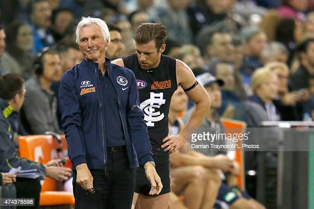An exasperated Mick Malthouse looks on during the round eight AFL match between the Geelong Cats and the Carlton Blues at Etihad Stadium on May 22...