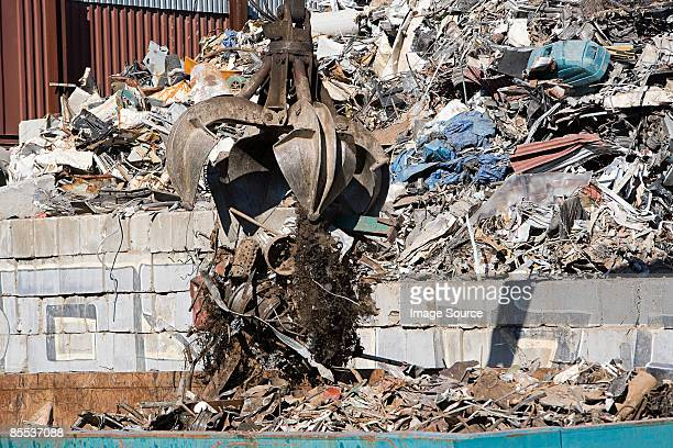 An excavator and rubble