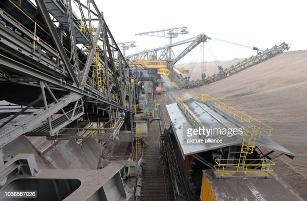 An excavator in action at the conveyor bridge F60 at the opencast mining in Welzow Germany 11 July 2013 Photo Ralf Hirschberger | usage worldwide