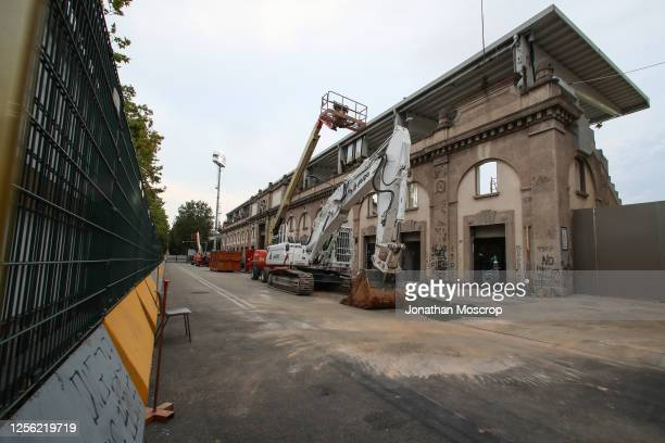 An excavator is seen alongside the tribune where building work is being done to renew the stadium before the Serie A match between Atalanta BC and...