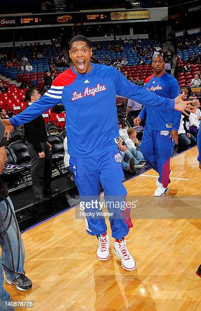 An excited Ryan Gomes of the Los Angeles Clippers warming up before facing off against the Sacramento Kings on March 1 2012 at Power Balance Pavilion...