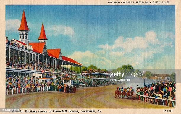 An Exciting Finish at Churchill Downs Louisville Ky' circa 1940 Churchill Downs Louisville Kentucky United States is a Thoroughbred racetrack that...
