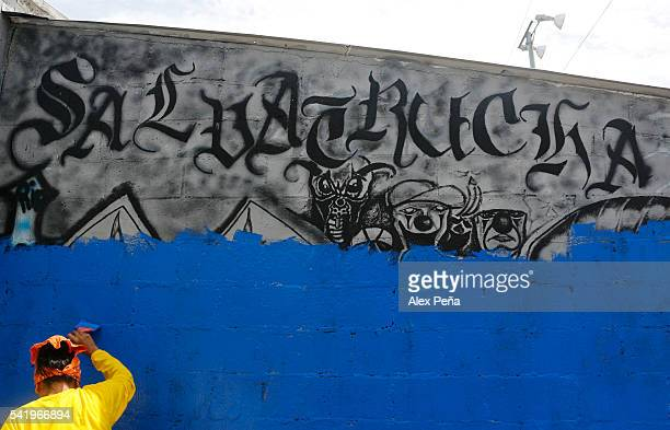 An exconvict clears gang graffitis on the street on June 21 2016 in Soyapango El Salvador President of El Salvador Salvador Sanchez Ceren has...