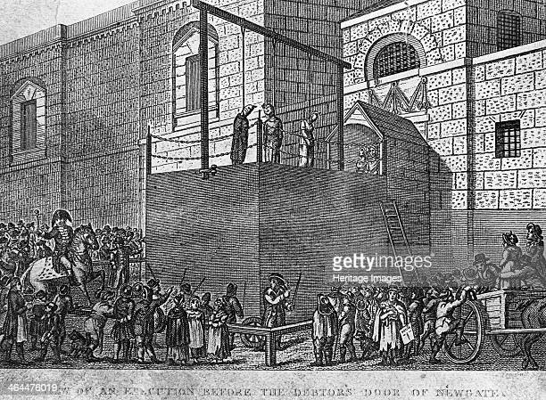 An execution before the debtor's door at Newgate Prison, London, c1809.