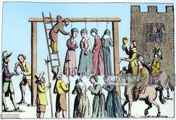 An execution of witches in England 17th century
