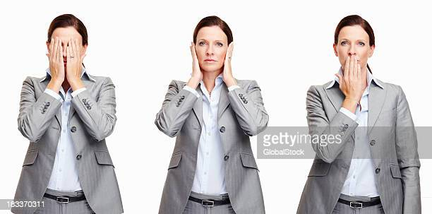 An executive female with different gestures