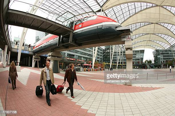 An exemplar of a Transrapid magnetic levitation train is exposed at Munich Airport on September 25 2007 in Munich Germany During a press conference...