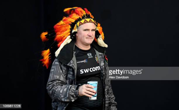 An Exeter Chiefs fan prior to the Premiership Rugby Cup match between Exeter Chiefs and Harlequins at Sandy Park on November 10 2018 in Exeter United...