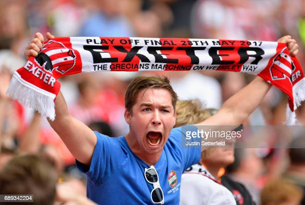 An Exeter City fan shows his support prior to the Sky Bet League Two Playoff Final between Blackpool and Exeter City at Wembley Stadium on May 28...