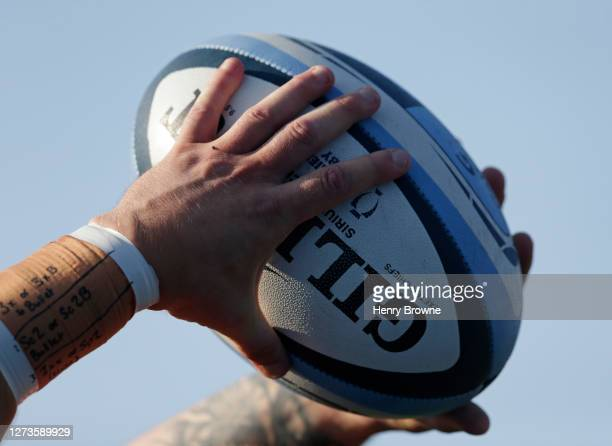 An Exeter player prepares to take a lineout during the Gallagher Premiership Rugby match between Saracens and Exeter Chiefs at Allianz Park on...