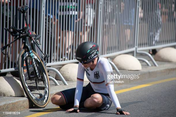 An exhausted Christa Riffel Germany following the womens cycling time trails during the 2019 Minsk European Games on the 25th June 2019 in Minsk City...