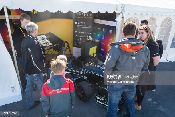 An exhibit featuring a small electrical Formula One car on display as part of Starmus Festival on June 22 2017 in Trondheim Norway