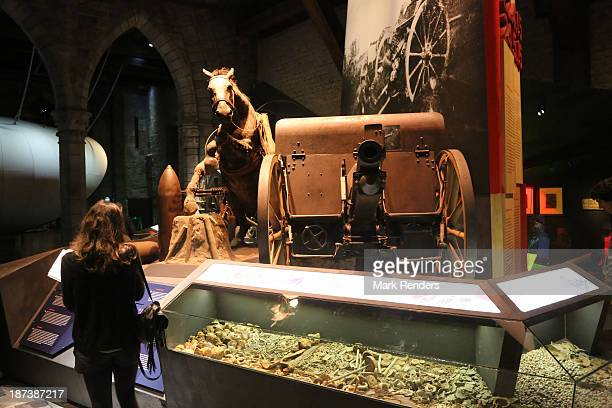 An exhibit of WWI battlefield artifacts are displayed at the In Flanders Fields Museum on November 7 2013 in Ypres Belgium 2014 will mark the 100th...