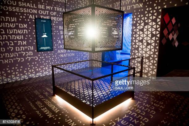 An exhibit on the Ark of the Covenant is seen in the Journey through the Hebrew Bible exhibit during a media preview of the new Museum of the Bible a...